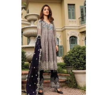 আনস্টিচড থ্রি পিস Deepsy Gulbano Georgette Pakistani Style Vol-7 Premium Suits 400-801 Multi with Silver-NON1576-5U7O 4801 1A00