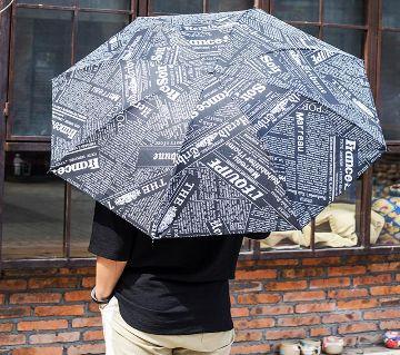 Black with news paper print Umbrella