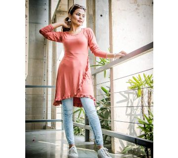 Long Sleeve Midi Tops for Women -red