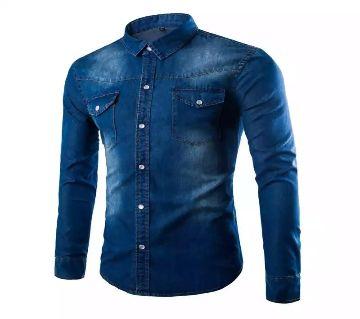 Blue Denim Long Sleeve Casual Shirt for Men - UPF