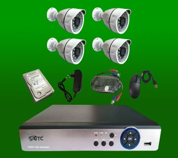 GTC 4 Channel AHD E-760H15  CCTV System (full Package) with Hard Disk.