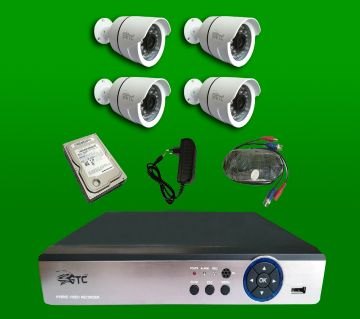 GTC 4 Channel AHD E-6936H15 CCTV System (full Package) with Hard Disk.