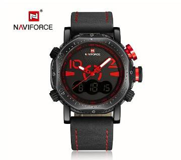 Naviforce Gents Dual Display Casual Leather Chrono Watch
