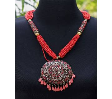 Beautiful Red Pink Round Big Locket Red Chain Necklace