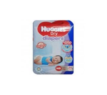 Huggies Dry Diaper ( Newborn ) 64 pcs-Up to 5 kg-Malaysia