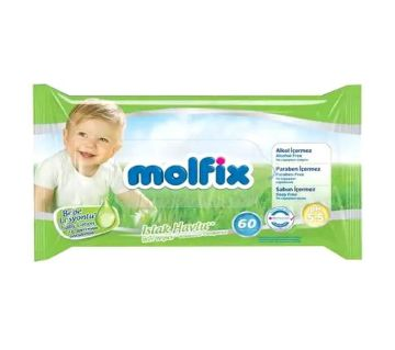 Molfix Wet Wips With Lotion (with Lid)  60 Pcs