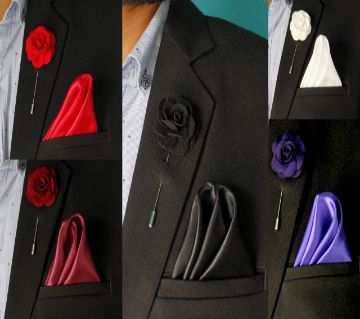 Set of Silk Woven Pocket Square and Lapel pin For Men