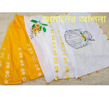 Cotton Saree With Blouse Piece & Jute Crafted Ornaments Set