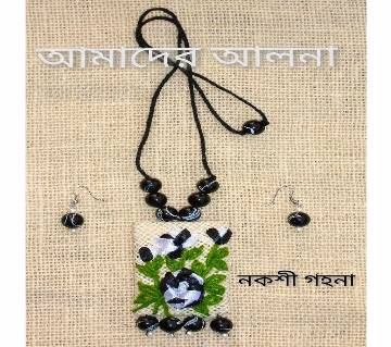 Jute Made Pendant With Earrings