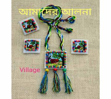 Embroidery Jewellery Set: Village Pendant with Earrings