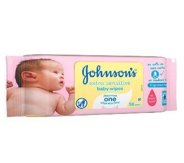 Johnsons Extra Sensitive Baby Wipes (UK) 56 wipes