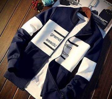White and Navy Blue Cotton Long Sleeve Casual জ্যাকেট ফর ম্যান