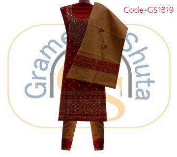 Unstitched Handicraft Cotton Three Piece
