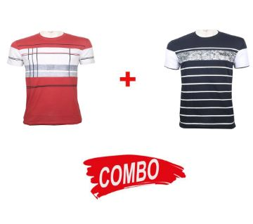 wide + red check half sleeve combo t-shirt