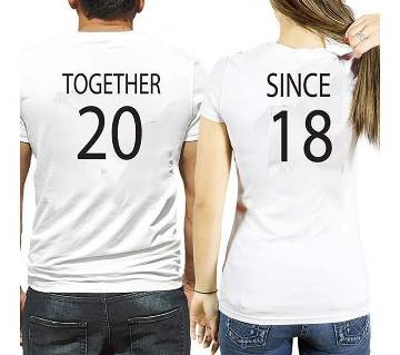 Together Since 2018 Round Neck Couple T Shirt