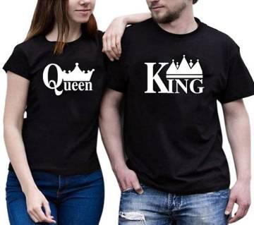 King Queen রাউন্ড নেক কাপল টি শার্ট