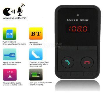 Hand Free Wireless Bluetooth FM Transmitter Modulator -Gold