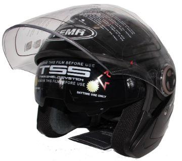 Yema-623 Motorcycle Helmet With Lenses-Glossy Black