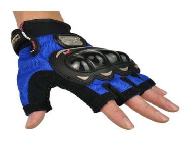 Pro Biker Motorcycle Riding Hand Gloves Half Finger - Blue