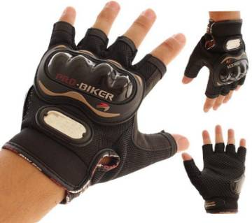 Pro Biker Motorcycle Riding Hand Gloves Half Finger - Black