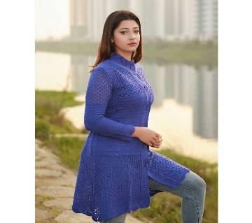 Blue Ladies Long Sweater Coat Female Sweater Cardigan