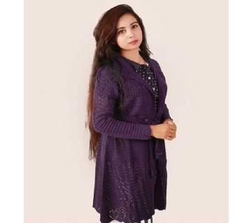 Dark Purple Ladies Long Sweater Coat Female Sweater Cardigan