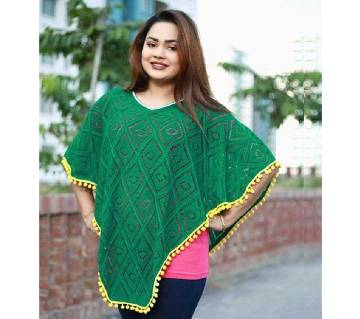 Forest Green  Poncho ( Hand Work)