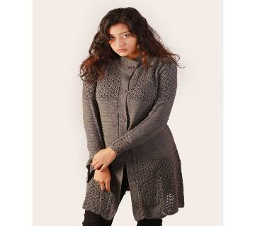 Grey Ladies Long Sweater Coat Female Sweater Cardigan