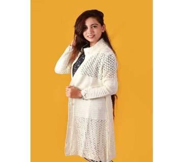 Off White Ladies Long Sweater Coat Female Sweater Cardigan
