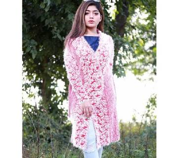 Pink Stylist Multi Color Cardigan For Ladies