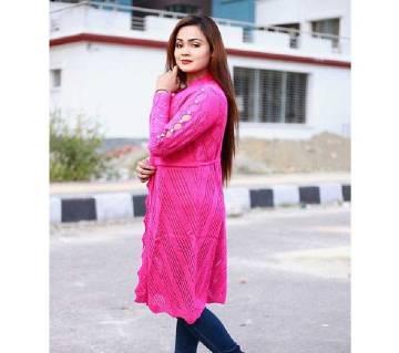Pink Stylist Sleeve Cardigan For Ladies