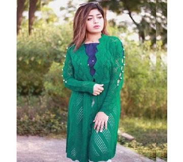 Sea Green Stylist Cardigan For Ladies