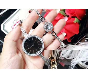 CK Black & Silver Watch with Bracelet (Master Copy)