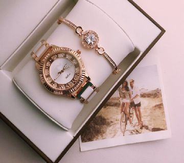 Rolex White with Golden Ladies Watch with Bracelet (Master Copy)