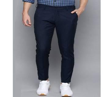 Deep Black Navy Blue Narrow Gabardine Pant