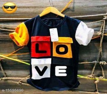 Love Half Sleeve Cotton T Shirt For Men - Blue