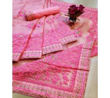Premium Khaddi Organza Saree with Blouse Piece