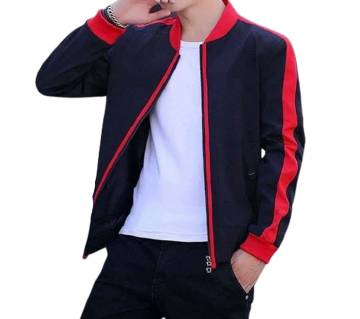 Mens winter Jacket - HD213 - Black with Red Stripe
