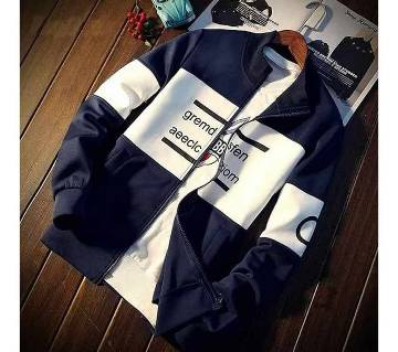 Gents Jacket for Winter - Navy Blue and White
