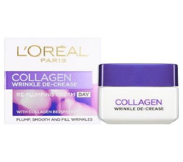 L`OREAL PARIS Collagen wrinkle DE-CREASE Re-Plumping Day cream (Germany)