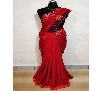 Heavy net worked Saree  with blouse piece