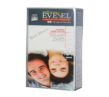 Evesel Hair Color 150gm (BLACK) Korea