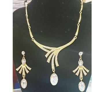 Stone setting necklace set with ear ring