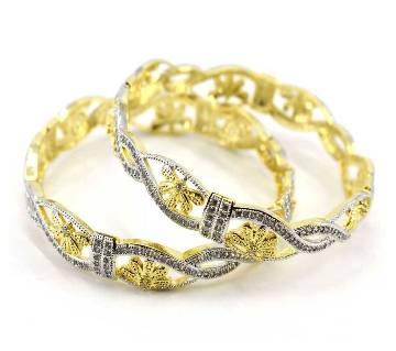 Gold Plated Diamond Cut Bangles Set (2pcs)