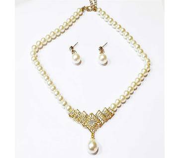 Artificial Pearl Setting Necklace With Matching Year Ring