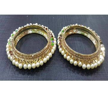 Gold plated stone setting bangles (2 pc)