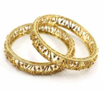 Gold Plated Diamond Cut Bangles Set (2 pcs)