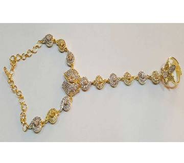 Diamond Cut Bracelets With Finger Ring