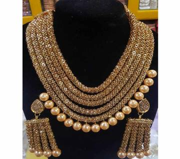 Golden Zink Alloy Pearl Ball Pendant Necklace Set
