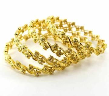 Gold Plated Diamond Cut Bangles Set (4 pcs)